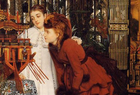 James Tissot - Jeunes femmes regardant des objets japonais